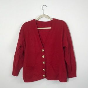Vintage Mohair Red Cardigan with Gold Buttons | L